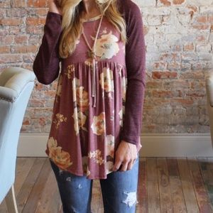 Tops - Burgundy Floral Baby Doll Tunic